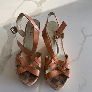 Guess cork wedges with leather straps